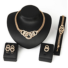 cheap Women's Jewelry-Women's Cubic Zirconia Link / Chain Bib Jewelry Set - Africa Include Necklace Earrings Bracelet Silver / Golden For Wedding Party Daily / Ring / Rings / Bracelets & Bangles