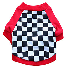お買い得  犬用ウェア&アクセサリー-ネコ 犬 Tシャツ 犬用ウェア 幾何学的な ブラック レッド コットン コスチューム ペット用 男性用 女性用 ファッション