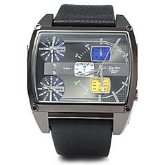 お買い得  大特価腕時計-Oulm 男性用 クォーツ 日本産クォーツ 軍用腕時計 3タイムゾーン レザー バンド ぜいたく クール ブラック ブラウン