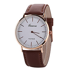 Men's White Case Leather Band Analog Quartz Wrist Watch Cool Watch Unique Watch Fashion Watch