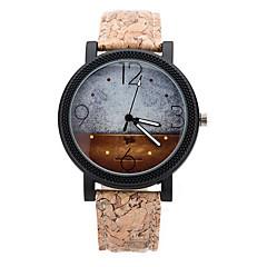 Heren Dress horloge Modieus horloge Horloge Hout Kwarts Maanfase / Leer Band Informeel Bruin