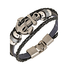 cheap Bracelets-Men's Leather Bracelet Wrap Bracelet Personalized Basic Inspirational Punk Leather Alloy Round Anchor Jewelry Daily Casual Sports Costume