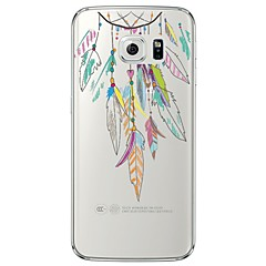 olcso Galaxy S6 Edge tokok-Case Kompatibilitás Samsung Galaxy Samsung Galaxy S7 Edge Átlátszó Minta Fekete tok Tollak Puha TPU mert S7 edge S7 S6 edge plus S6 edge