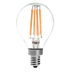 E14 Lâmpada Redonda LED G45 4 leds COB Impermeável Branco Quente 380lm 2700K AC 220-240V