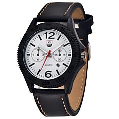 お買い得  メンズ腕時計-男性用 クォーツ リストウォッチ カレンダー レザー バンド カジュアル ブラック / 白