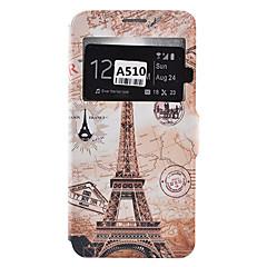 olcso Galaxy A5 tokok-Mert Samsung Galaxy tok Kártyatartó / Ütésálló / Porálló / Állvánnyal Case Teljes védelem Case Eiffel torony Puha Műbőr SamsungA9(2016) /