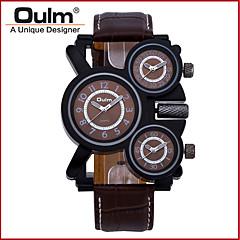 お買い得  大特価腕時計-Oulm 男性用 軍用腕時計 3タイムゾーン / クール 本革 バンド ぜいたく ブラック / ブラウン