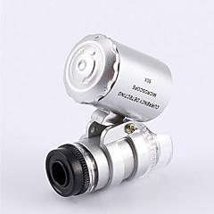 abordables Hobbies-Microscopio pequeño del joyero 60X 2 LED Mini Microscopio de bolsillo lupa del joyero de la lupa
