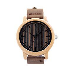 Masculino Casal Relógio de Moda Relógio de Pulso Relógio Madeira Quartzo / Couro Banda Casual Marrom Marron
