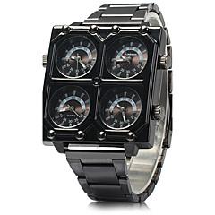 お買い得  メンズ腕時計-SHI WEI BAO 男性用 クォーツ 軍用腕時計 3タイムゾーン ステンレス バンド クール ブラック