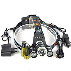 Headlamps Headlight Safety Lights LED 13000 lm 1 Mode Cree XM-L T6 with Batteries and Chargers Anglehead Super Light Suitable for Vehicles