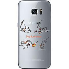 tanie Galaxy S6 Etui / Pokrowce-Kılıf Na Samsung Galaxy Samsung Galaxy S7 Edge Wzór Czarne etui Pies Miękkie TPU na S7 edge S7 S6 edge plus S6 edge S6