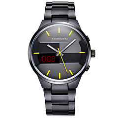 お買い得  メンズ腕時計-TOMORO 男性用 リストウォッチ / 軍用腕時計 / ドレスウォッチ カレンダー / 耐水 / LED ステンレス バンド ぜいたく / カジュアル ブラック / シルバー