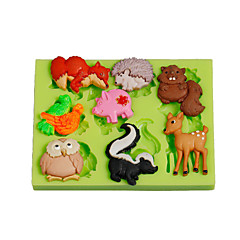 Jungle Animals Owl Squirrel Silicone Polymer Clay Mold Cake Decoration Tools Fimo Fondant Making Color Random