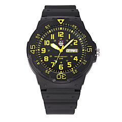 preiswerte Tolle Angebote auf Uhren-Herrn Armbanduhr Quartz 30 m Kalender Cool Silikon Band Analog Retro Freizeit Modisch Schwarz / Blau / Grau - Purpur Blau Schwarz / Gelb