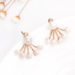 abordables Joyería Bañada en Oro-Mujer Pendientes colgantes - Perla, Chapado en Oro Moda Blanco Para Boda / Fiesta / Casual