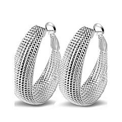 Mulheres Brincos em Argola Sexy Moda Bijuterias Destaque bijuterias Prata de Lei Formato Circular Jóias Para Casamento Festa Diário Casual