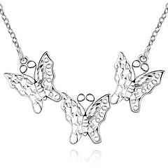 preiswerte Halsketten-Damen Kubikzirkonia Anhängerketten - Sterling Silber, Kubikzirkonia, versilbert Schmetterling, Tier Modisch Weiß Modische Halsketten Für Party, Alltag, Normal