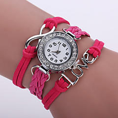 preiswerte Tolle Angebote auf Uhren-Damen Quartz Armbanduhr / Armband-Uhr Imitation Diamant PU Band Glanz / Retro / Freizeit / Böhmische / Modisch Schwarz / Weiß / Blau /