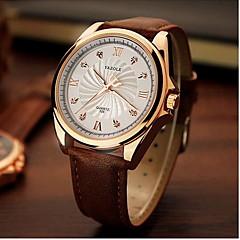 preiswerte Tolle Angebote auf Uhren-YAZOLE Herrn Armbanduhr Quartz Nachts leuchtend Leder Band Analog Charme Kleideruhr Schwarz / Braun - Schwarz Braun