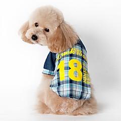 お買い得  猫の服-ネコ 犬 Tシャツ 犬用ウェア 格子柄 ブルー ピンク コットン コスチューム ペット用 男性用 女性用 ファッション スポーツ