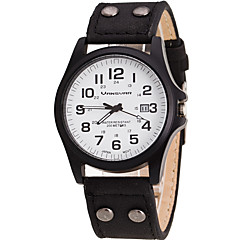 Hombre Reloj de Pulsera Cuarzo Calendario Piel Banda Cool Casual Negro Blanco Marrón Blanco Negro Marrón Verde Caqui