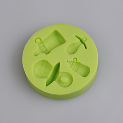 Baby's bottle and pacifier shape silicone mold for baby birthday cake fondant cake Color Random