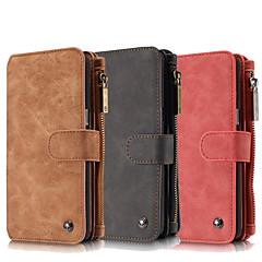 Недорогие Чехлы и кейсы для Galaxy Note 5-Кейс для Назначение SSamsung Galaxy Samsung Galaxy Note7 Бумажник для карт Кошелек со стендом Флип Чехол Сплошной цвет Настоящая кожа для