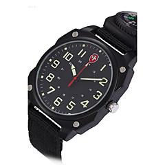 Heren Dress horloge Modieus horloge Polshorloge Compass Punk Kwarts Stof Band Vintage Cool Vrijetijdsschoenen Zwart Groen