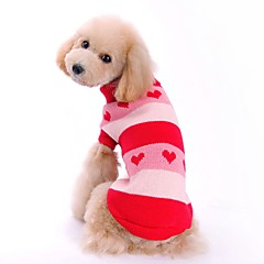 Cat Dog Sweater Dog Clothes Cute Casual/Daily Hearts Red Blue Costume For Pets