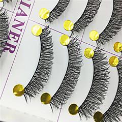 Cílios Cílios Tiras Completas de Cílios Olhos Cruzado Pestanas Levantadas Confeccionada à Mão Fibra Banda Preta 0.10mm 12mm
