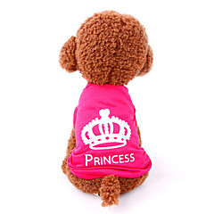 Gatos Cães Camiseta Roupas para Cães Verão Primavera/Outono Tiaras e Coroas Casual Rosa