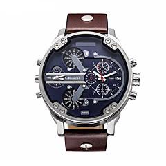 お買い得  大特価腕時計-CAGARNY 男性用 軍用腕時計 リストウォッチ 日本産 クォーツ 30 m 耐水 カレンダー レザー バンド ハンズ ぜいたく ファッション ブラック / ブラウン - ブラック Brown