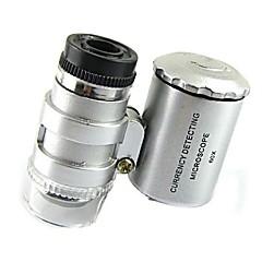 voordelige Originele LED-lampen-mini 60x microscoop geleid sieraden loupe uv valuta-detector draagbare vergrootglas vergrootglas eye lens met LED-licht