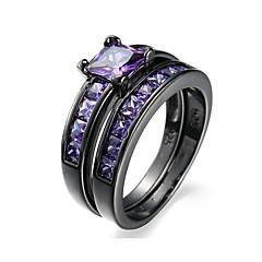preiswerte Ringe-Damen Kubikzirkonia Bandring Ringe Set - Aleación Personalisiert, Punk, Simple Style 6 / 7 / 8 / 9 / 10 Purpur / Rosa / Leicht Rosa Für Hochzeit Party Alltag