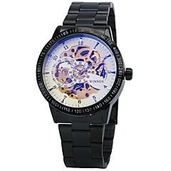 お買い得  メンズ腕時計-WINNER 男性用 リストウォッチ / 機械式時計 耐水 / 透かし加工 / 光る ステンレス バンド ぜいたく / ヴィンテージ ブラック / シルバー / 自動巻き / 速度計