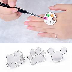 귀여운 네일 아트 금속 손가락 반지 팔레트 아크릴 젤 폴란드어 그림 그리기 색 페인트 접시 매니큐어 도구를 혼합