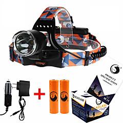 Недорогие Налобные фонари-U'King ZQ-X8000 Налобные фонари Налобный фонарь Светодиодная лампа 1000 lm 3 Режим Cree XM-L T6 с батарейками и зарядным устройством