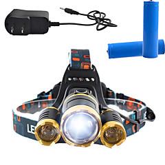 Czołówki LED 3000 Lumenów 4.0 Tryb Cree T6 18650 Akumulator Anglehead Superlekkie Przysłonięcia Obóz/wycieczka/alpinizm jaskiniowy Do