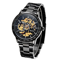 お買い得  大特価腕時計-WINNER 男性用 リストウォッチ / 機械式時計 耐水 / 透かし加工 / 光る ステンレス バンド ぜいたく / ヴィンテージ ブラック / シルバー / 自動巻き / 速度計