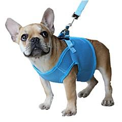 저렴한 -강아지 하니스 가죽끈 조절 가능 / 리트랙터블 통기성 안전 솔리드 메쉬 블랙 퍼플 레드 블루 핑크
