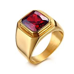 Herre Statement-ringe Kvadratisk Zirconium Kærlighed kostume smykker Personaliseret Rustfrit Stål Zirkonium Kvadratisk Zirconium