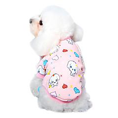 お買い得  猫の服-ネコ 犬 Tシャツ パジャマ 犬用ウェア カートゥン イエロー パールピンク ブルー ピンク ブルー-イエロー コットン コスチューム ペット用 男性用 女性用 キュート カジュアル/普段着