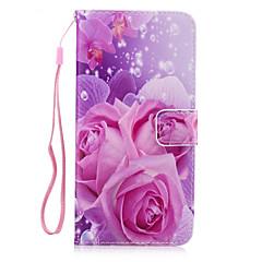 Для Кошелек / Бумажник для карт / со стендом / Флип Кейс для Задняя крышка Кейс для Цветы Твердый Искусственная кожа для AppleiPhone 7