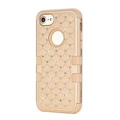 Недорогие Кейсы для iPhone 5-Кейс для Назначение Apple Кейс для iPhone 5 iPhone 6 iPhone 7 Защита от удара Стразы Чехол Сплошной цвет Твердый Силикон для iPhone 7