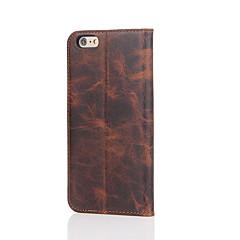 Недорогие Кейсы для iPhone 6-Кейс для Назначение Apple iPhone 6 iPhone 7 Plus iPhone 7 Бумажник для карт со стендом Чехол Сплошной цвет Твердый Настоящая кожа для