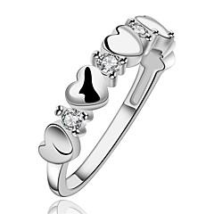 お買い得  指輪-女性用 指輪 / 婚約指輪 - ジルコン, 銅, 銀メッキ ハート 7 / 8 シルバー 用途 結婚式 / パーティー / 日常