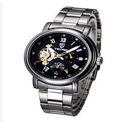 tanie Zegarki luksusowe-Tevise Męskie Damskie Dla par Sportowy Szkieletowy Modny zegarek mechaniczny Kalendarz Wodoszczelny Świecący SrebrzystyKwarcowy
