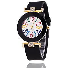 お買い得  レディース腕時計-女性用 ブレスレットウォッチ ホット販売 シリコーン バンド ヴィンテージ / カジュアル / ファッション ブラック / 白 / ブルー