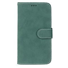 Недорогие Кейсы для iPhone 5-Для Кошелек / Бумажник для карт / со стендом / Флип / Матовое Кейс для Чехол Кейс для Один цвет Твердый Искусственная кожа для Apple